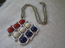 Vintage Sarah Cov Marked Ridged Open Link Silvertone Chain with Red White & Blue