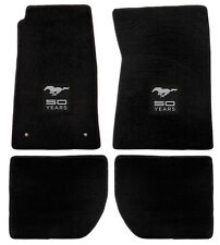 NEW! 1964-1973 Ford Mustang Black Floor mats with Logo Set of 4 Carpet 50 Years