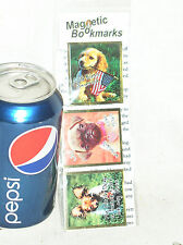 """SEALED 3 PET DOG EXPRESSIONS MAGNETIC BOOKMARKS BOOK MARK USA 2"""" IN BY 1-3/4"""
