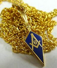 Trowel Square Compass Masonic Masonry Freemason Pendant Necklace w/ chain