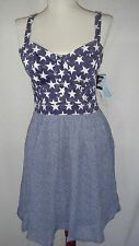 MARILYN MONROE Corset Fit Flare Dress Blue Denim Stars Convertible Straps Small