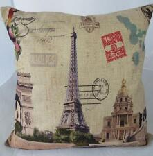 Eiffel Tower Paris Scenes Linen Look Cushion Cover Home Pillow Case Decor 45cm