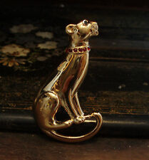 Vintage Gold Panther Jaguar Cheetah Cat Brooch with Red Crystal Collar