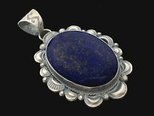 LARGE! Gilbert Tom Navajo Lapis Lazuli and Sterling Silver Handmade Pendant