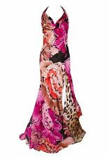 GIANNI VERSACE COUTURE PINK FLORAL LEOPARD PRINT LONG SILK EVENING DRESS GOWN 42