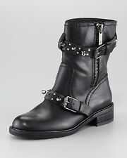 Sam Edelman ADELE Black Leather Ankle Stud Boots Studded Biker Moto Shoes 7.5 NU
