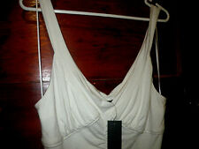 $59.95 new seduce size 14 soft stretchy cream ruched v neck tank cami dress top