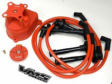 DISTRIBUTOR CAP + ROTOR + SPARK PLUG WIRE KIT FOR 92-95 HONDA CIVIC D15 EG RED