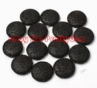 27mm Flat Coin Black Lava Rock Gemstone Jewelry Making Spacer Beads Strand 15""