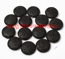 25mm Flat Coin Black Lava Rock Gemstone Jewelry Making Spacer Beads Strand 15""