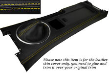 YELLOW STITCH CENTRE CONSOLE & GEAR GAITER SKIN COVERS FITS MAZDA MX5 MK3 05-13