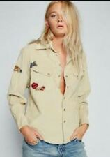 NWT$128 Free People ivory OB547072 Embroidered harley baby Corduroy Top Shirt