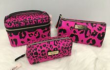 NWT Victorias Secret Train Case & Cosmetic Beauty Bag Cheetah Print 3 Piece Set