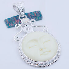 New Arrival Fashion Silver carved bone face  Opal   Gemstone Pendant  P726