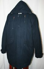 EDDIE BAUER GOOSE DOWN TRENCH COAT HOODED WOOL WINTER JACKET NAVY MEN XL
