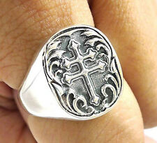 KNIGHT CROSS OF LORRAINE HERALDIC ARMS SOLID STERLING 925 SILVER RING Sz 10.5