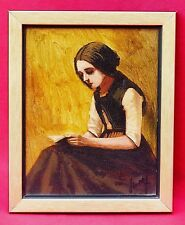 ORIGINAL MID CENTURY OIL PAINTING SIGNED J / S WOLF SEATED WOMAN READING A BOOK