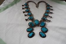 VINTAGE SQUASH BLOSSOM DEAD PAWN MORENCI TURQUOISE STERLING NECKLACE 170 grams