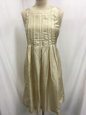 Laura Ashley Cream Silk Sleeveless Pleated Dress Size 8 Holiday Christmas