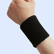 1x New Sports Wristband Sweatband Wrist Wristband Yoga Wristbands -Black DY