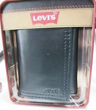 Wallet Leather Levi Men New Black Trifold Levis Card Box Credit Logo Mens Slim