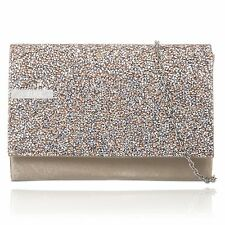 Beige/Champange Glitter Sparkle Wedding Ladies Party Evening Clutch Hand Bag