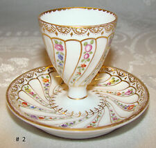 Antique Dresden GERMANY Egg Cup with Attached Liner Helen Wolfsohn c 1890's #  2