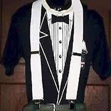 """White 2"""" Plain Mens Braces Suspenders Adjustable trouser Thick Wide Fancy Dress"""