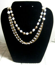 "Vintage Costume Jewelry, 56"" Beaded Strand Necklace, White Interrmittent Beads"