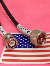 8in UHF PL259 male plug to BNC male plug jumper pigtail cable RG58 MADE IN USA