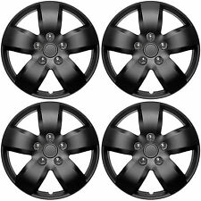 "4 Pc Set of 16"" MATTE BLACK Hub Caps Rim Cover for OEM Steel Wheel - Covers Cap"