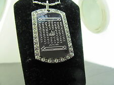 ALLAHS 99 NAMES W MINARATE DESIGN AYTUL KURSI 2 SIDED CZ TAG PENDANT NECKLACE