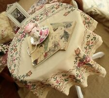 """GORGEOUS! Cross-Stitch Embroidered tablecloth ECRU~CABBAGE roses PINK FRENCH 32"""""""