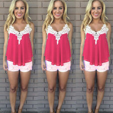 Womens Summer Short Sleeve Vest Tops Blouse Lady Lace Tank Tops Casual T Shirt