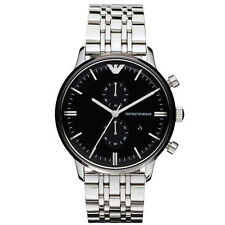Emporio Armani AR0389 Classic Black Chrono Stainless Steel Mens Watch Nuevo