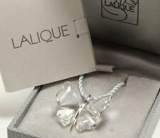 LALIQUE 925 STERLING SILVER CLEAR CRYSTAL PAPILLON BUTTERFLY NECKLACE PENDANT