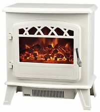 Electric Stove Heater with Log Flame Effect Fire Fireplaces Cream TOP QUALITY !