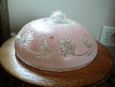 ART DECO - Vintage PINK FROSTED GLASS ELECTRIC CEILING FIXTURE SHADE - FRONDS