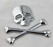 Silver Skull Head Crossbones Logo Metal Badge 3M Decal Sticker For Jeep Chrysler