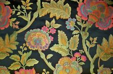 DESIGNER SYDNEY JACOBEAN DAMASK FABRIC 10 YARDS BLACK FUSCHIA JADE GOLD BLUE