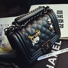 Womens Quilted PU Leather badge Shoulder bag Handbag Messenger Small chain bag