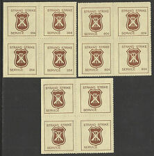 AUSTRALIA 1981 CRICKET STRAND STRIKE MAIL CINDERELLAS 3v blocks of 4 Perf MNH