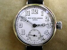 1915 OVERSIZE 42MM GERMAN MILITARY OFFICER'S TRENCH WATCH, 'MEIN GUTER KAMERAD'.