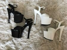 2 PAIRS PLEASER SIZE 7 SKY 309 7 INCH STRIPPER HEELS GREAT CONDITION BLACK WHITE