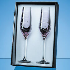 2 Personalised Engraved Diamante Crystal Pink Champagne Flutes Wedding Gift