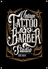 """Tattoo & Barber Studio"" Metal Sign, Enamel, Vintage, No.641"