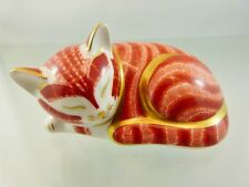 ROYAL CROWN DERBY SLEEPING KITTEN PAPERWEIGHT IMARI STYLE GOLD STOPPER