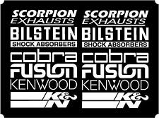 12 White Car Door Stack  Sponsor Logo Stickers,Graphics,Decals set 3