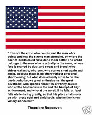 """Theodore Teddy Roosevelt American Flag """" It is not"""" Quote 8 x 10 Photo #fp3"""