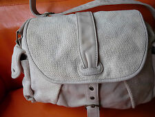 "SAC A MAIN TOILE ET CUIR BEIGE ECRU ""VANESSA BRUNO"" LEATHER HAND BAG"